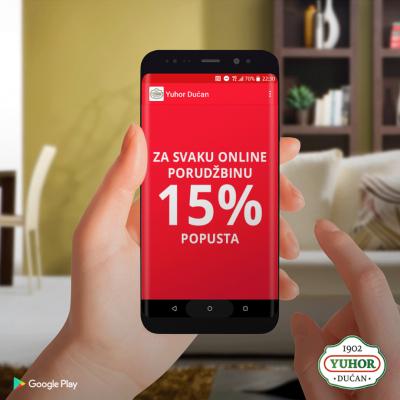 15% popusta na online porudžbine putem Yuhor Dućan aplikacije